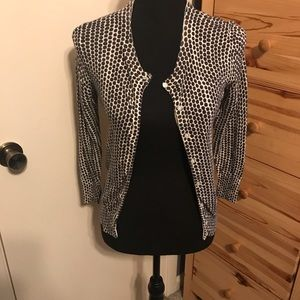 Black and white dotted cardigan